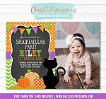 Black Cat Halloween Invitation 1 - FREE thank you card included