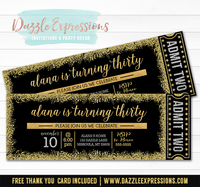 Printable Black, Gold and Silver Glitter Ticket Birthday ...