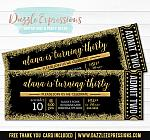 Black Gold and Silver Glitter Ticket Invitation - FREE thank you card included