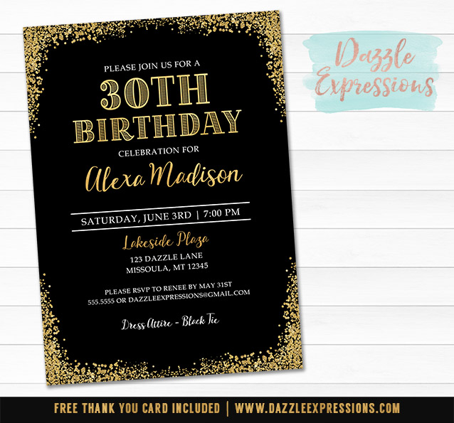 Printable black and gold glitter elegant birthday for 30th birthday decoration packages