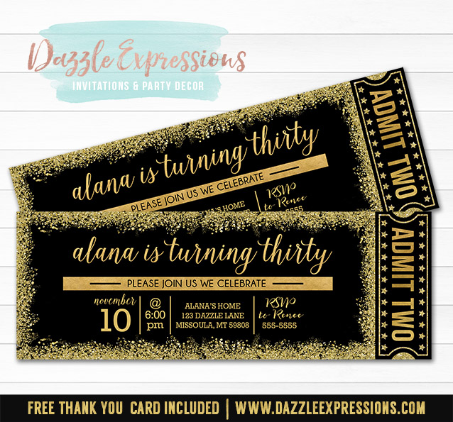 Black and Gold Glitter Ticket Invitation - FREE thank you card included