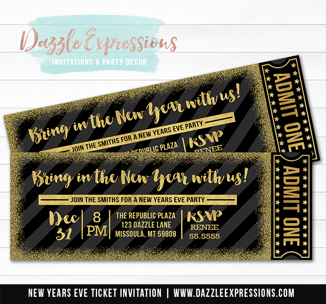 Black and Gold Glitter New Years Eve Ticket Invitation 1