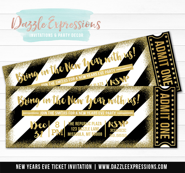 black and gold glitter new years eve ticket invitation 2