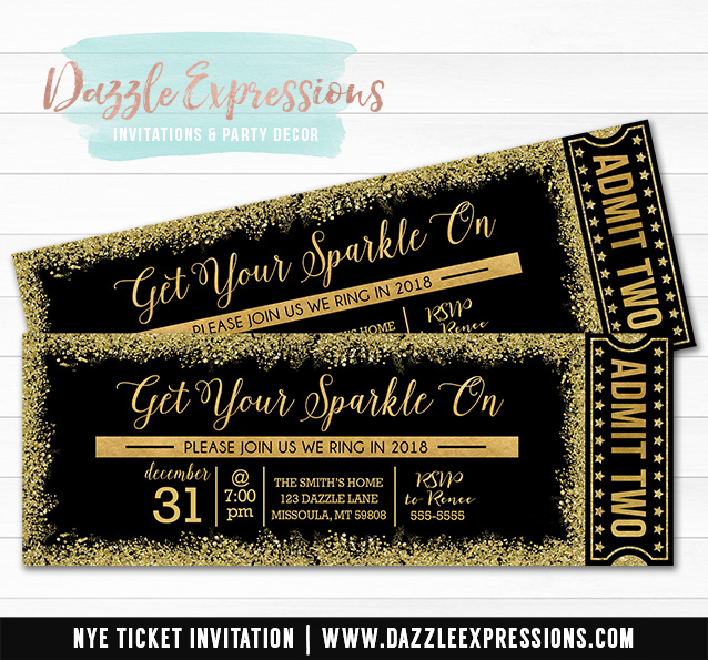 Black and Gold Glitter New Years Eve Ticket Invitation 3