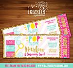 Blowing Bubbles Glitter Ticket Invitation - FREE thank you card