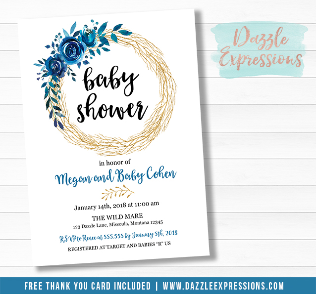 Blue and Gold Floral Baby Shower Invitation - FREE thank you card included
