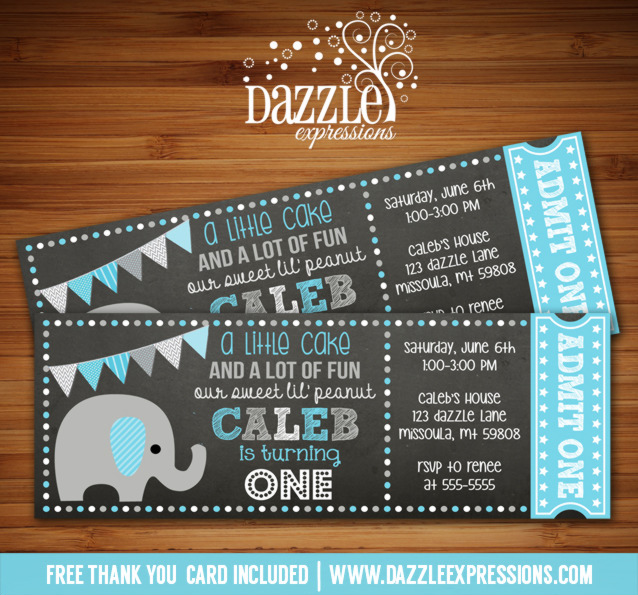 Elephant Chalkboard Ticket Invitation 1 - FREE thank you card included