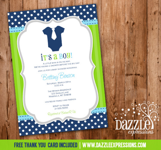 Blue and Green Onesie Invitation - FREE thank you card included