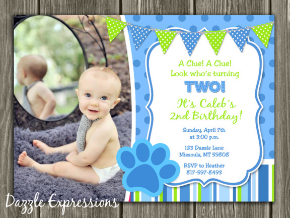 Blue Puppy Birthday Invitation 2 - Thank You Card Included