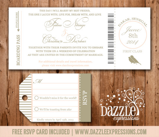 Boarding pass wedding invitation rsvp card included stopboris Choice Image