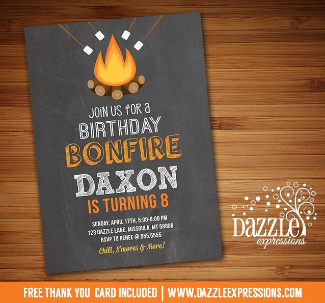 printable bonfire chalkboard birthday invitation kids fall fire
