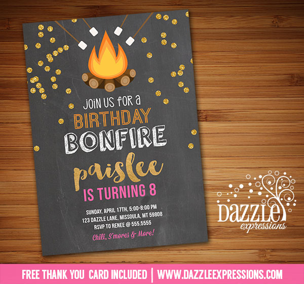 Printable Girls Gold Glitter Bonfire Birthday Invitation Smores Party