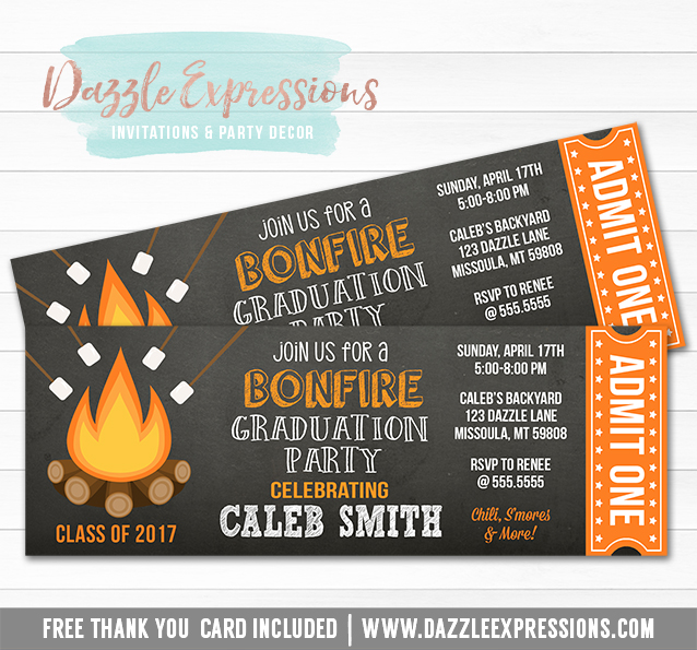 Bonfire Chalkboard Ticket Graduation Invitation 1 - FREE thank you card