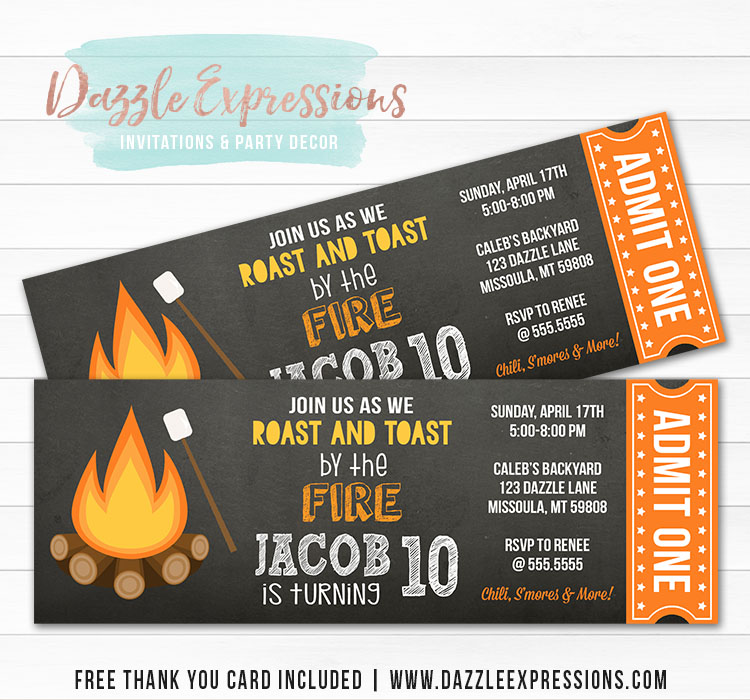 Bonfire Chalkboard Ticket Invitation 1 - FREE thank you card