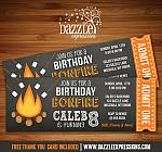 Bonfire Chalkboard Ticket Invitation 2 - FREE thank you card