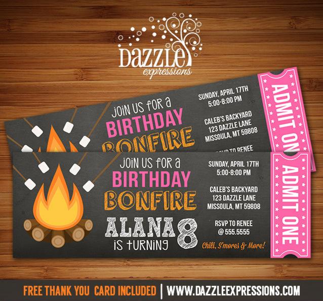 Printable Chalkboard Bonfire Ticket Birthday Invitation