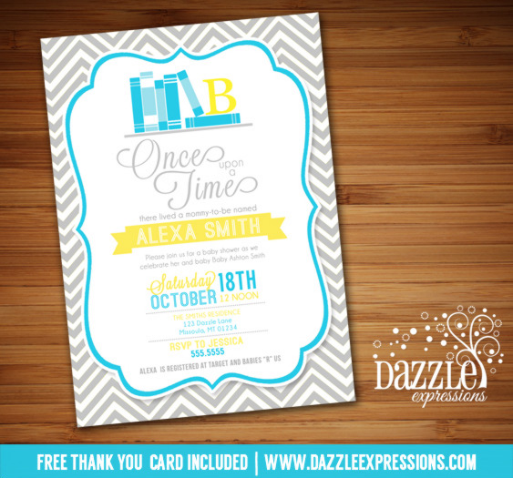 Story Book Baby Shower Invitation - FREE thank you card included