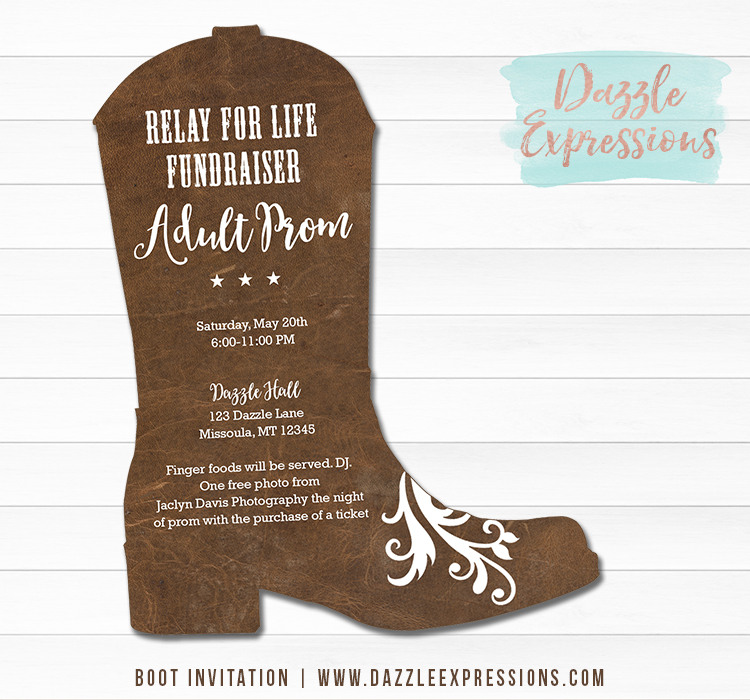 Leather Boot Invitation - Any Event - Printable