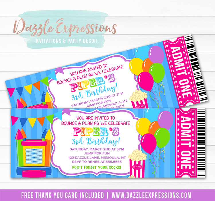 Bounce House Ticket Invitation 2 - FREE thank you card included