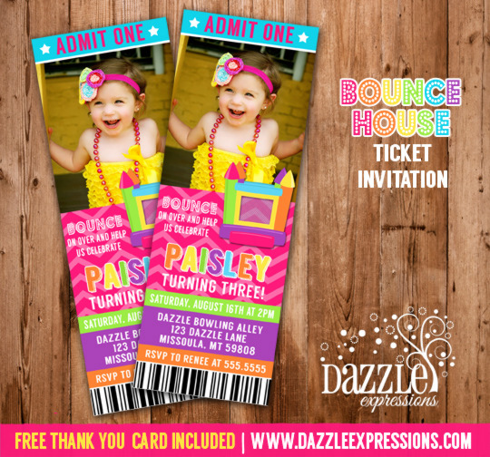 Bounce House Ticket Invitation 3 - Thank You Card Included