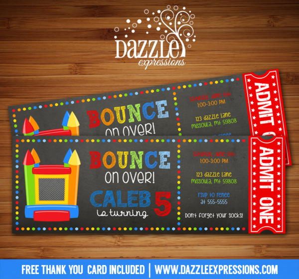 Bounce House Chalkboard Ticket Invitation 1 - FREE thank you card included