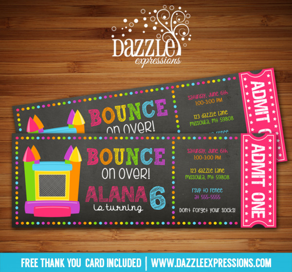 Bounce House Chalkboard Ticket Invitation 2 - FREE thank you card included