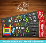 Bounce House Chalkboard Ticket Invitation 3 - Thank You Card Included