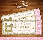 Bounce House Pink and Gold Glitter Ticket Invitation - FREE thank you card