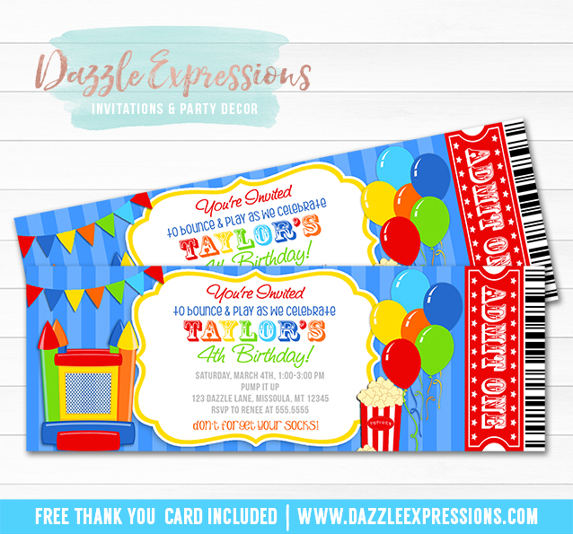 Bounce House Ticket Invitation 1 - FREE thank you card included