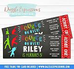 Bounce or Jumping Chalkboard Ticket Invitation - FREE thank you card