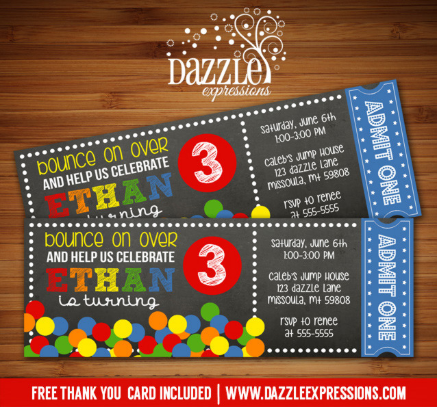 Bouncing Ball Chalkboard Ticket Invitation - FREE thank you card included