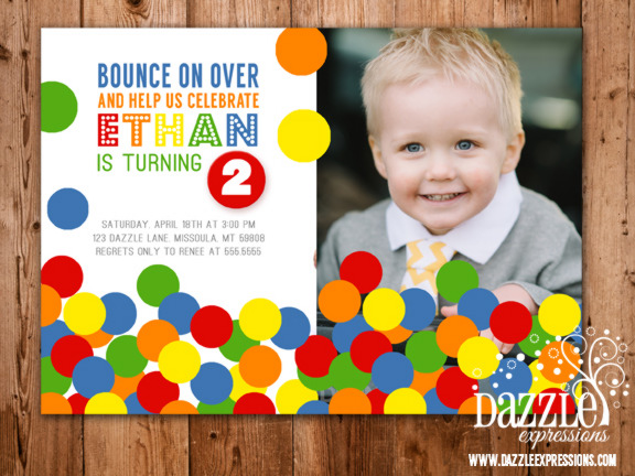 Bouncy Ball Birthday Invitation - FREE thank you card included