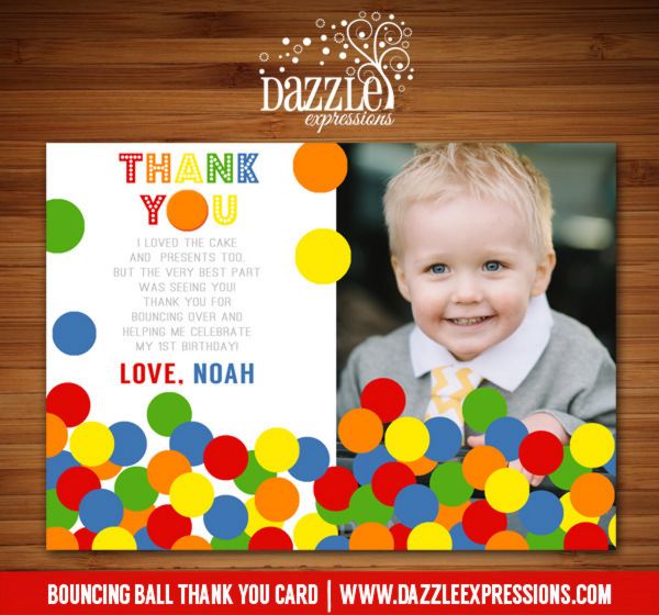 Bouncing Ball Photo Thank You Card - PRINTABLE