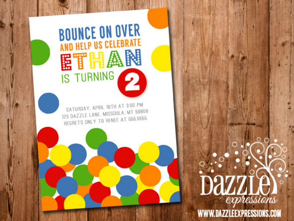 Bouncy Ball Birthday Invitation - No Photo - FREE thank you card included