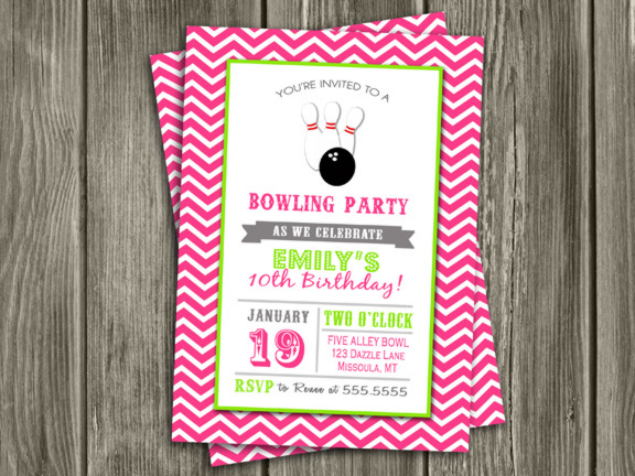printable pink chevron bowling birthday invitation