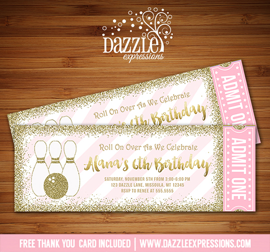 Bowling Pink and Gold Glitter Ticket Invitation - FREE thank you card