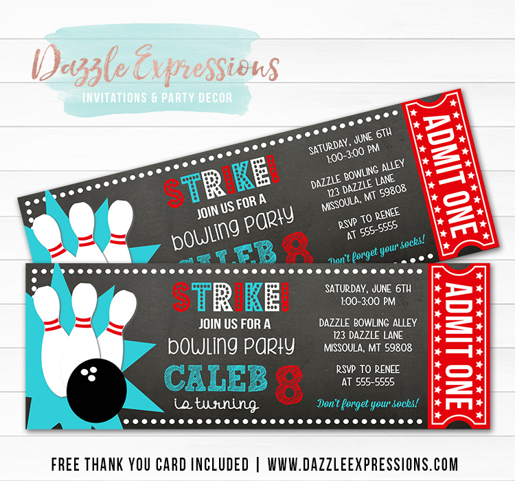 Bowling Chalkboard Ticket Invitation 1 - FREE thank you card included