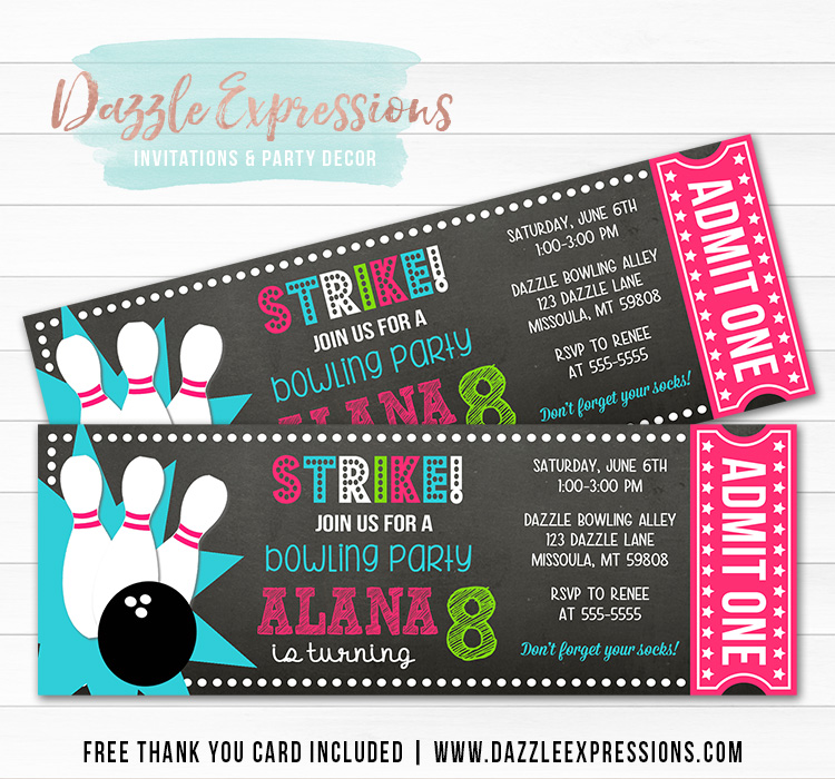 Bowling Chalkboard Ticket Invitation 2 - FREE thank you card included