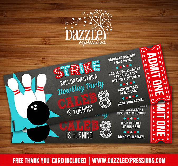 Bowling Chalkboard Ticket Invitation 3 - FREE thank you card included