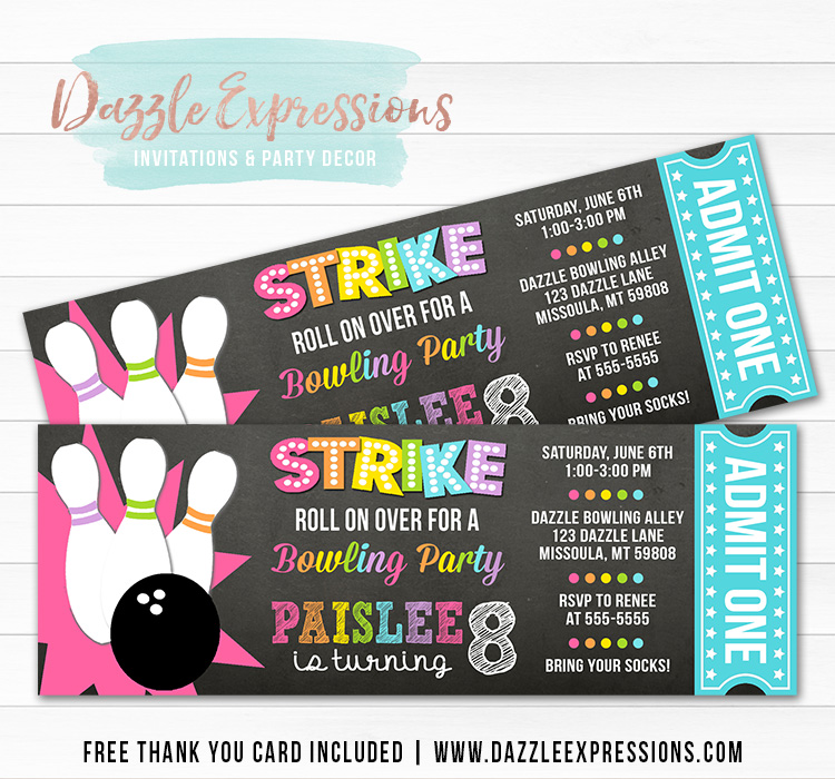 Bowling Chalkboard Ticket Invitation 4 - FREE thank you card included