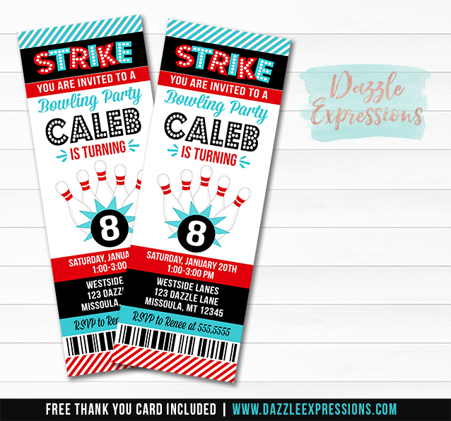 Bowling Ticket Invitation 1 - FREE thank you card