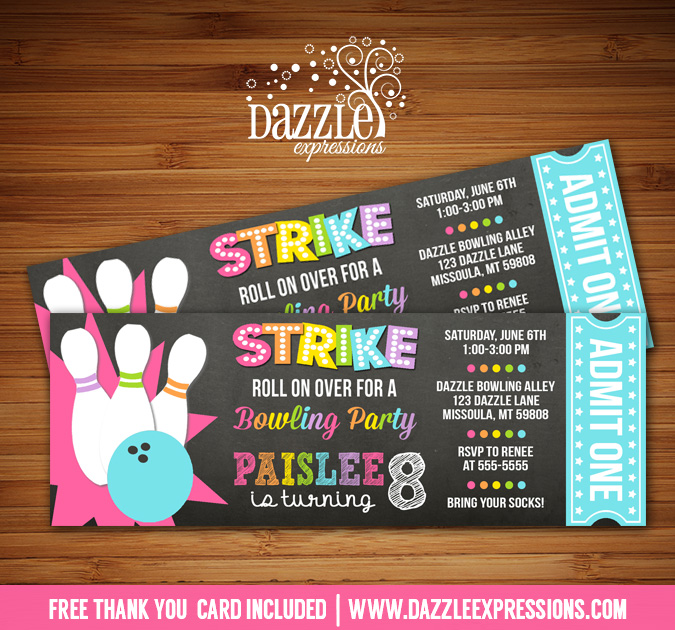 Printable girl chalkboard bowling ticket birthday invitation free bowling chalkboard ticket invitation 4 free thank you card included filmwisefo