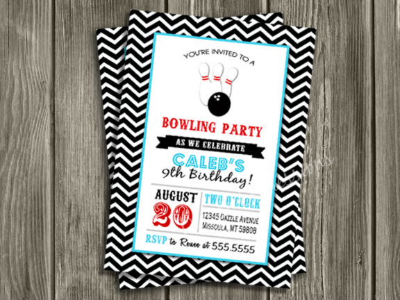 Bowling Birthday Invitation 1 - FREE Thank You Card Included