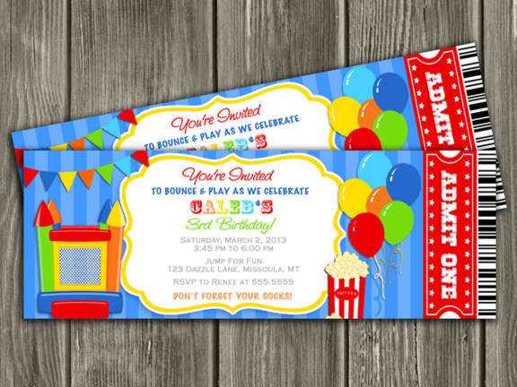 bounce birthday party invitations, Birthday invitations