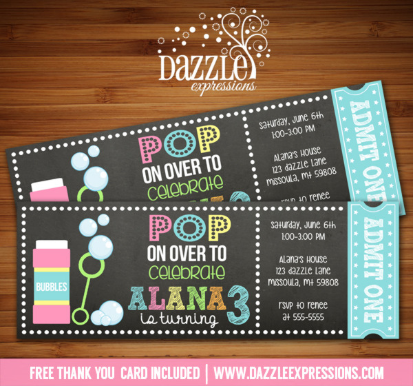 Bubbles Chalkboard Ticket Invitation 2 - FREE thank you card