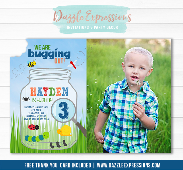 Printable bug birthday invitation insect birthday party idea bug birthday invitation thank you card included filmwisefo