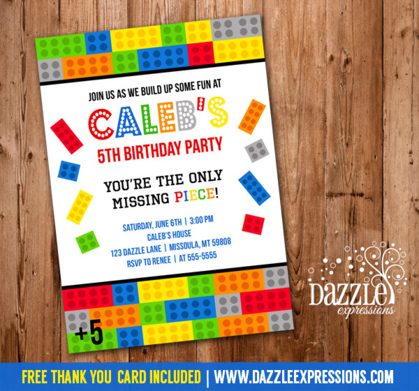 Building Block Birthday Invitation 2 - No Photo - FREE thank you card included