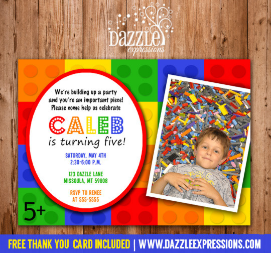 Building Block Birthday Invitation - FREE thank you card included