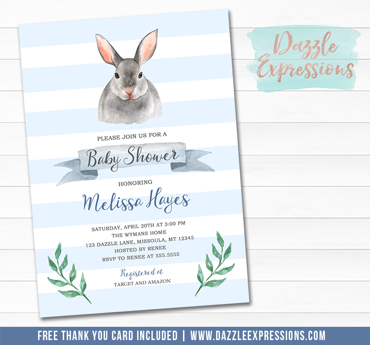 Bunny Rabbit Baby Shower Invitation 2 - FREE thank you card