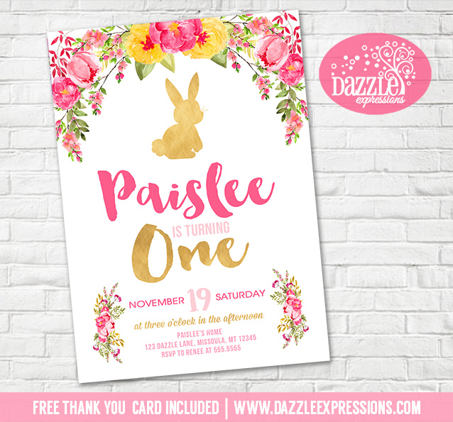 Printable floral and gold bunny rabbit birthday invitation girls bunny rabbit floral birthday invitation 1 free thank you card filmwisefo